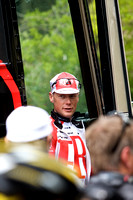Chris Horner exiting the bus